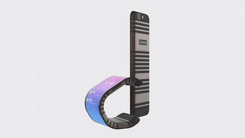 Lenovo exibe aparelhos com telas dobráveis que podem ser usados como pulseiras